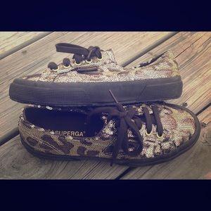 New SUPERGA leopard print gold bronze sequin shoe